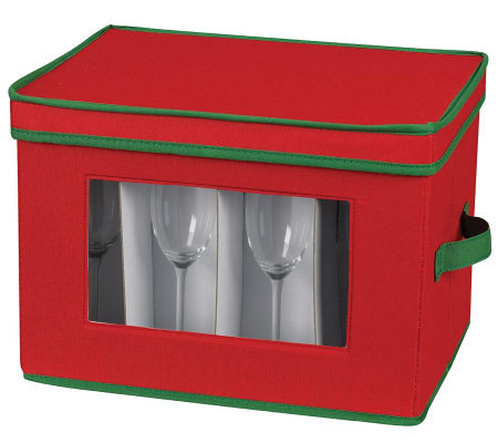 Household Essentials Holiday Stemware Flute Chest