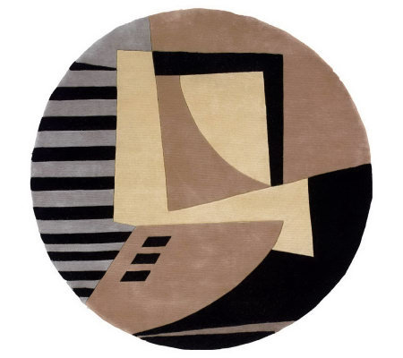 "Momeni New Wave Abstract 5'9"" Round Handmade Wool Rug"