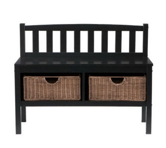 Home Reflections Bench With Brown Rattan Baskets - H169756