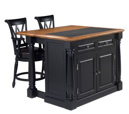 Home Syles Monarch Kitchen Island w/Granite Top& Two Stools