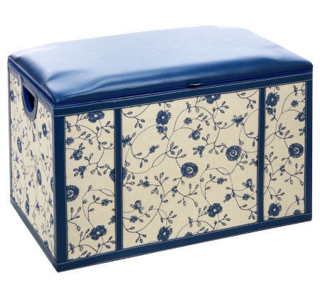 Faux Leather Rectangular Storage Bench w/ Toile Fabric by Valerie