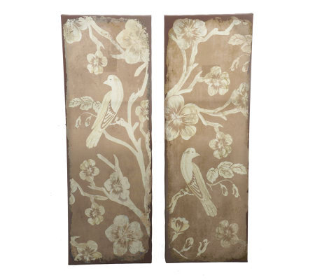 Bombay Set of 2 Canvas Panel Bird Wall Decor