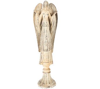"""As Is"" 18"" Antiqued Glittered Carved Angel Figure - H210356"