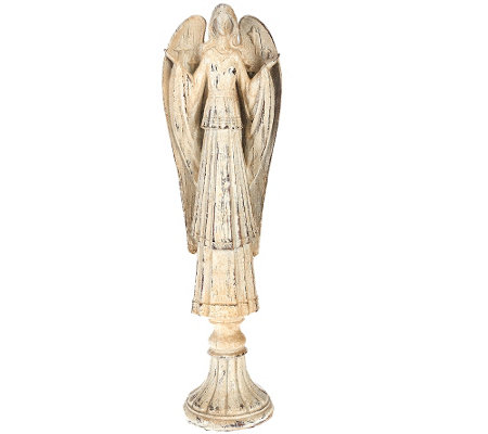 """As Is"" 18"" Antiqued Glittered Carved Angel Figure"