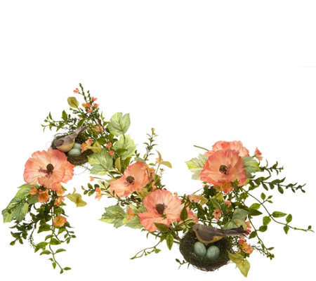 4' Poppies with Bird Garland