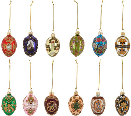 Joan Rivers 2017 Set of 12 Russian Inspired Mini Egg Ornaments