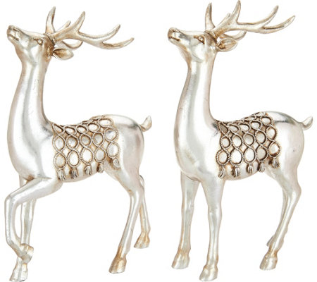 "Set of 2 11"" Antiqued Deer Figurines with Braided Rope Accents"