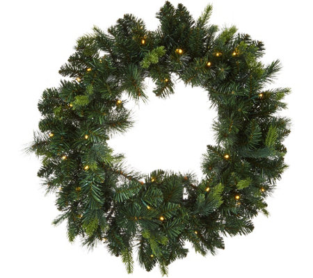 "Bethlehem Lights Prelit 24"" Green Wreath"