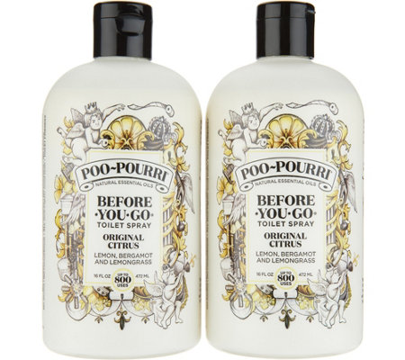 Poo-Pourri Set of (2) 16oz. Bathroom Deodorizer Refill Bottles