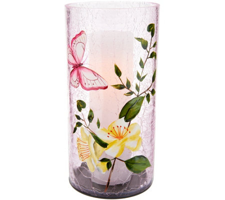 Candle Impressions Crackled Glass Luminary with Floral Decal