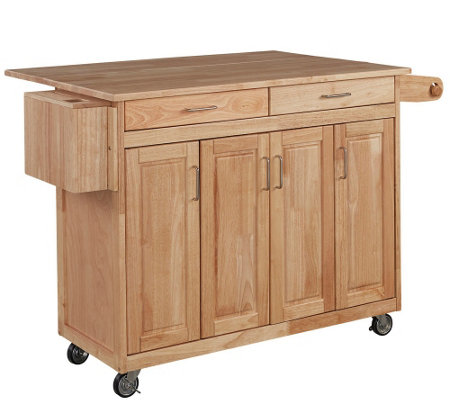 Home Styles Wood Kitchen Cart with Breakfast Ba