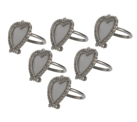 Set of Six Heart-Shaped Frame Napkin Rings by Valerie