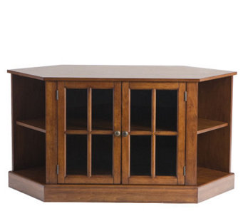 Transitional Corner Walnut TV Stand with Display Shelves - H160957