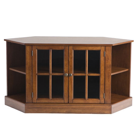 Transitional Corner Walnut TV Stand with Display Shelves