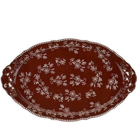 "Temp-tations 18"" Floral Lace Holiday Platter with Figural Handles"