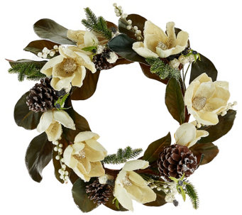 """As Is"" 18"" Glittered Magnolia, Pinecone & Berry Wreath - H208457"