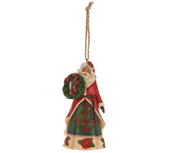 Jim Shore Heartwood Creek Poinsettia Santa Ornament - H209657