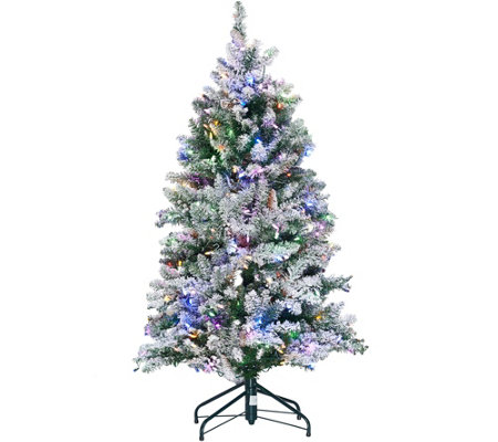 """As Is"" ED On Air Santa's Best 5' Frosted Simon Tree by Ellen DeGeneres"
