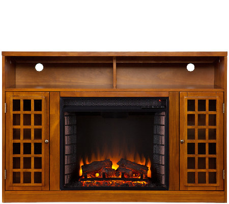 Bergen Media Stand/Electric Fireplace, Glazed Pine Finish