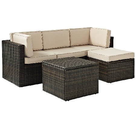 Crosley Palm Harbor 5-Pc Outdoor Wicker Sectional Seating Set