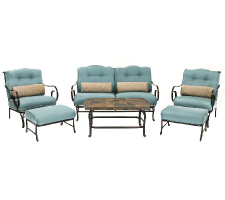Hanover Oceana 6-Piece Outdoor Seating Set andCoffee Table