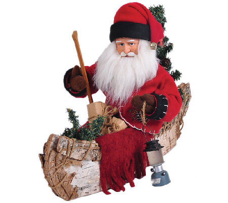 "12"" Santa and Canoe by Santa's Workshop"