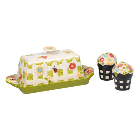 Temp-tations Gingham Garden Butter Dish with Sa lt & Pepper Se