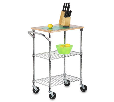 Honey-Can-Do Chrome 2-Shelf Urban Rolling Cart