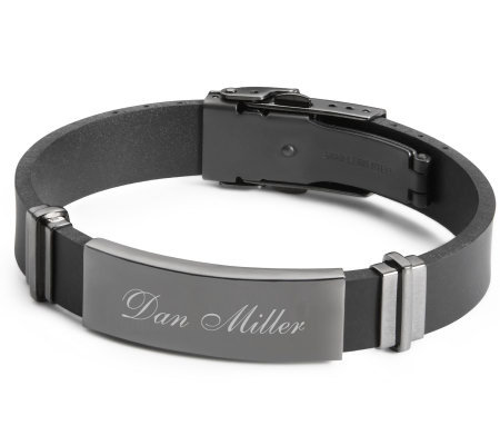 Things Remembered Gunmetal Rubber ID Bracelet