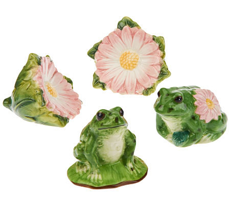 4-piece Frog & Daisy Salt & Pepper Shakers by Valerie