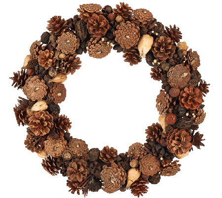 "ED On Air Natural Rustic 17"" Pinceone Wreath by Ellen DeGeneres"