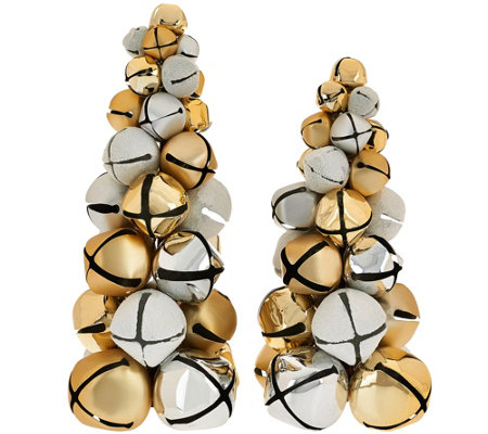 Dennis Basso Set of 2 Jingle Bell Christmas Trees