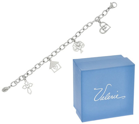 Heartfelt Stainless Steel Charm Bracelet with Gift Box by Valerie