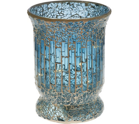 "8"" Glass Mosaic Tiled Vase with Micro Lights by Valerie"