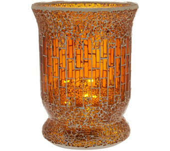 """As Is"" 8"" Glass Mosaic Tiled Vase with Micro Lights by Valerie - H210758"