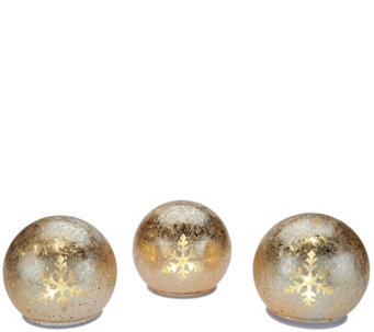 """As Is"" Set of 3 Illuminated Winter Frost Spheres by Valerie - H210958"