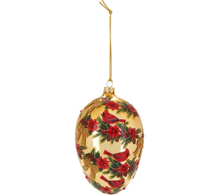 "Joan Rivers 6"" Handpainted Cardinal Egg Ornament with Satin Box"