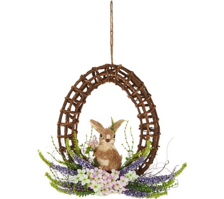 "15"" Egg Shaped Vine Wreath w/ Bunny Accent by Valerie"