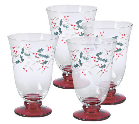 Pfaltzgraff Winterberry Water Goblet, 14 oz Set/4