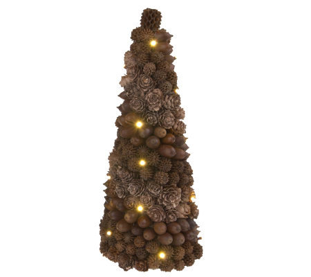 "Bethlehem Lights 11"" Battery Op. Nut Medley Tree with Timer"
