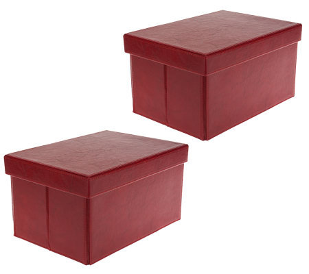 S/2 Small Collapsible Faux Leather Storage Boxes by Valerie