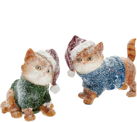 Set of 2 Kittens or Puppies with Santa Hats by Valerie