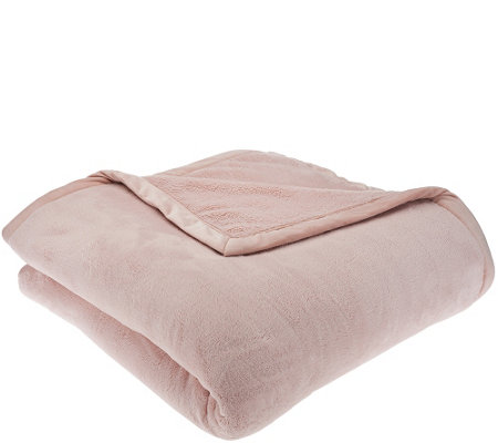 Berkshire Oversized Twin Primalush Blanket w/ Faux Mink Binding ...
