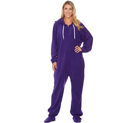 Forever Lazy One-Piece Fleece Footed Adult Pajamas With Pockets ...