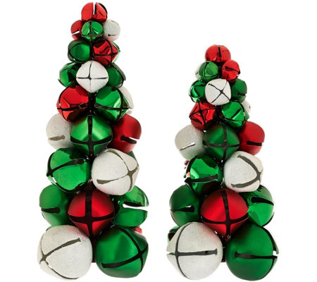 """As Is"" Dennis Basso Set of 2 Jingle Bell Christmas Trees"