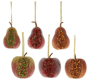 """As Is"" Set of 6 Beaded Fruit Ornaments by Valerie - H210759"