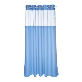 Hookless Mini Square Jacquard Shower Curtain w. Fabric Liner