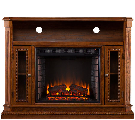 Duncan Media Console/Electric Fireplace, BrownOak Finish