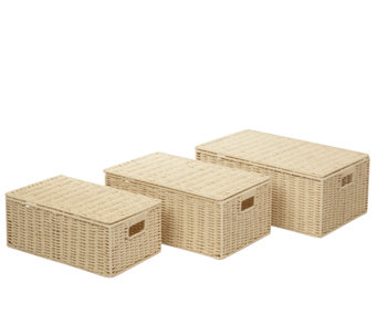 Honey-Can-Do Set of 3 Parchment Cord Boxes - H283059