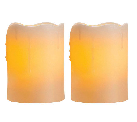 "Candle Impressions Set of Two 4"" Flameless Pillar Candles"